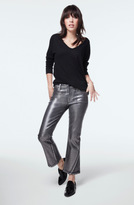 J Brand Selena Mid-Rise Cropped Boot Cut in Foiled Chrome