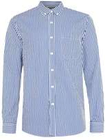 Topman Blue and White Stripe Long Sleeve Casual Shirt