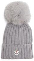 Moncler Women's Genuine Fox Fur Pom Ribbed Wool Beanie - Black
