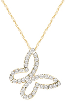 Diamond Fascination 14K Gold Floating Butterfly Pendant Necklace with Diamond Accents