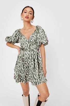 Nasty Gal Womens Stay Wild Petite Puff Sleeve Mini Dress - Green - 4