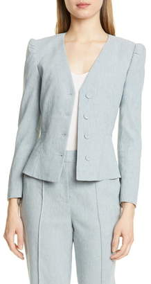 Rebecca Taylor Tailored by Collarless Linen Blend Jacket