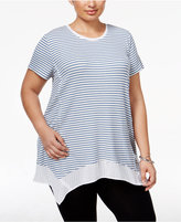 Style&Co. Style & Co Plus Size Striped Handkerchief-Hem Top, Only at Macy's