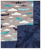 """MyBlankee My Blankee Aviator Grey Minky w/ Minky Dot Baby Blanket, 30"""" x 35"""""""