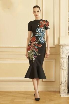 GEORGES HOBEIKA Short Sleeve Beaded Laine Midi Dress