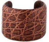 Brunello Cucinelli Embossed Leather Cuff Bracelet