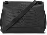 Alexander Mcqueen Black Ribcage Leather Messenger Bag