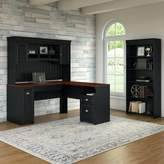Beachcrest Home Oakridge Desk with Hutch and Bookcase Set Color: Antique Black