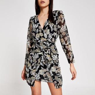 River Island Black floral twist front V neck mini dress