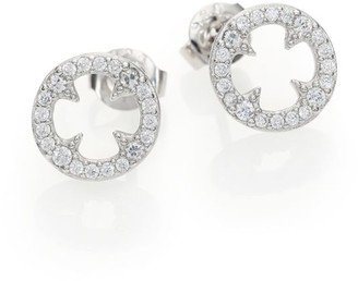 Adriana Orsini Heart & Soul Pave Sterling Silver Clover Disc Stud Earrings