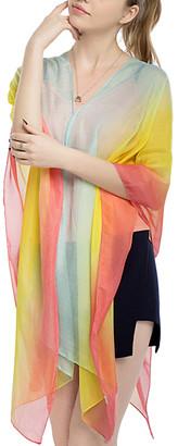 JINWEI Women's Kimono Cardigans yellow - Yellow & Blue Color-Block Kimono-Sleeve Cardigan