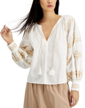 INC International Concepts Inc Petite Cotton Embroidered Tasseled Top, Created for Macy's