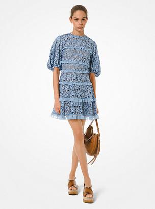MICHAEL Michael Kors MK Corded Lace Ruffled Dress - Chambray - Michael Kors
