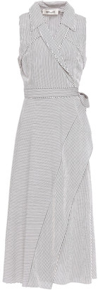 Diane von Furstenberg Striped Poplin Midi Wrap Dress