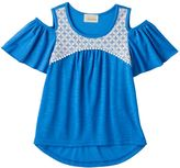 My Michelle Girls 7-16 Crochet Lace Patterned Cold Shoulder Top