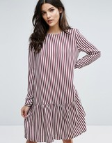 Selected Striped Dropped Waist Dress