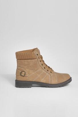 boohoo Fur Cuff Detail Lace Up Hiker Boots