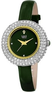Burgi Ladies Diamond Swarovski Crystal Luxury Leather Strap Watch Gifts for Her