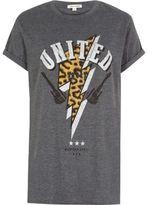 River Island Womens Grey leopard print rock T-shirt