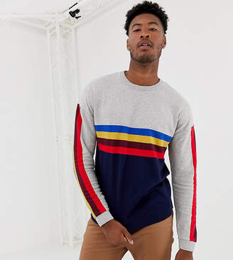 Asos Design DESIGN Tall sweater with rainbow chest and sleeve stripes-Gray