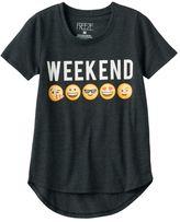 "Freeze Girls 7-16 Emoji ""Weekend"" Graphic Tee"