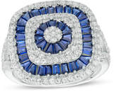 Zales Lab-Created Blue and White Sapphire Multi-Row Art Deco Ring in Sterling Silver