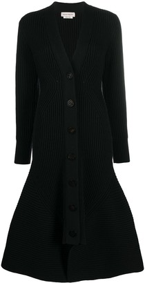 Alexander McQueen Ribbed Flared Cardi-Coat