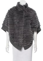 Glamour Puss Glamourpuss Fur-Tiered Knit Poncho w/ Tags