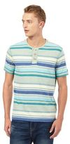 Mantaray Big And Tall Green Striped Print Granddad Top