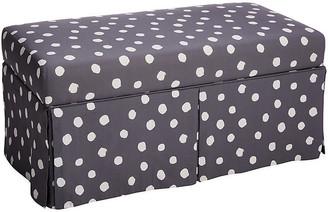 One Kings Lane Hayworth Storage Bench - Gray Linen - gray/white
