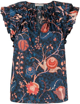 Ulla Johnson Floral Print Ruffle Blouse