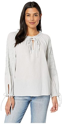 Lucky Brand Metallic Embroidery Peasant Top (Ice Blue) Women's Blouse