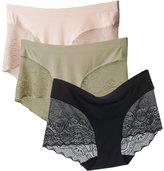 Easykan Women's Light Control Seamless Hipster Lace Briefs Boyshort Panties Underwear