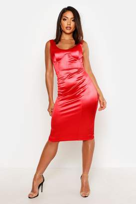 boohoo Stretch Satin Cupped Midi Dress