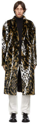 Neil Barrett Tan and White Faux-Fur Oversized Abstract Eco Coat
