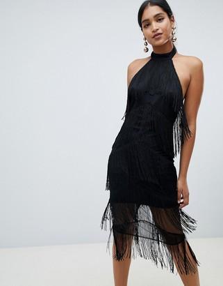 Asos Design DESIGN halter midi fringe dress-Black