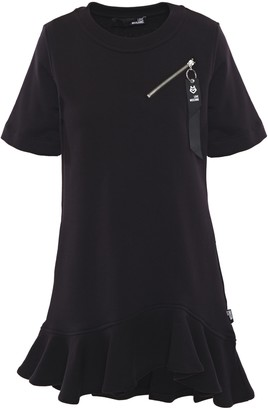 Love Moschino Fluted Zip-detailed French Cotton-terry Mini Dress