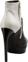 Alexander McQueen Bicolor Platform Buckle Ankle Boot, White/Black