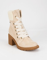 Roxy Eddy Heeled Lace-Up Natural Womens Lug Boots