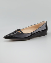 Manolo Blahnik Kavanga T-Bar Pointy-Toe Flat, Black