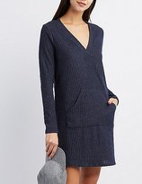 Charlotte Russe Ribbed V-Neck Sweater Dress