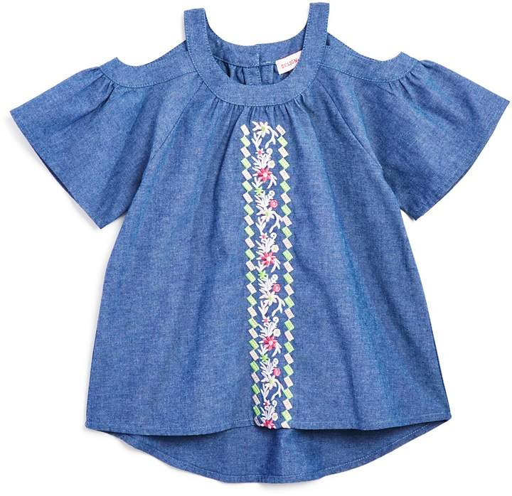 Design History Girls' Embroidered Cold-Shoulder Chambray Top