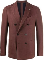 Lardini textured woven double-breasted blazer