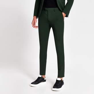 River Island Mens Dark Green super skinny suit trousers