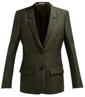 Bottega Veneta Single-breasted Mohair And Wool-blend Blazer - Womens - Dark Green