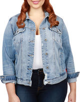 Lucky Brand Plus Plus Embroidered Denim Jacket