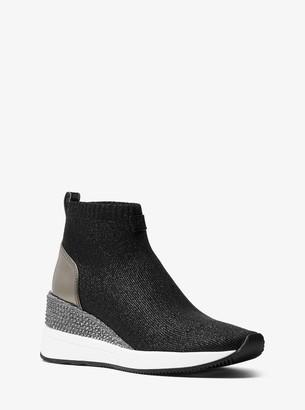 MICHAEL Michael Kors Skyler Embellished Metallic Stretch Knit Sock Sneaker