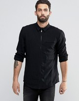 Bellfield Linen Mix Zip Through Shirt In Regular Fit