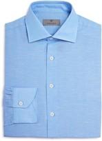 Canali Slub Solid Regular Fit Dress Shirt