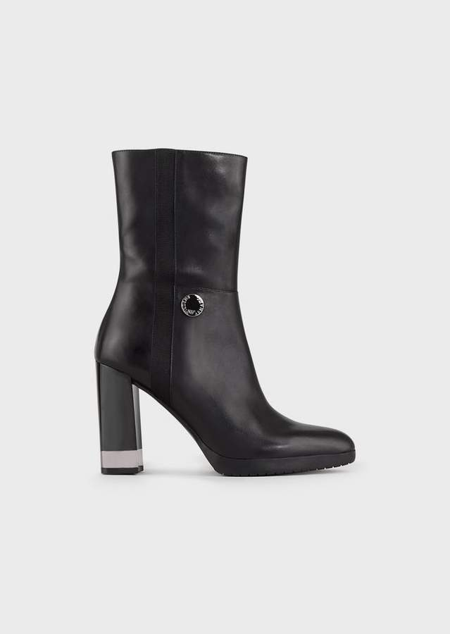 f08157f6ef Leather Booties With Square Heel